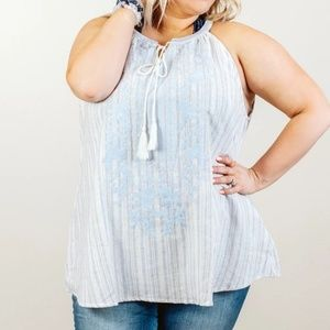 Blue/White Striped Embroidered Trapeze Top 2X